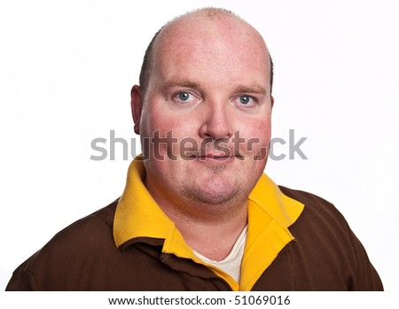 photo casual male face portrait on white - stock photo