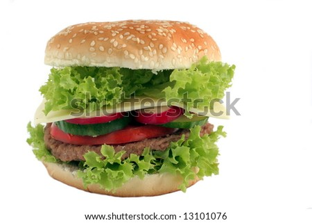 photo cheeseburger from vegetables on white background