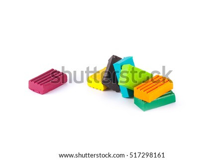 Photo children's colored plasticine isolated on white background. Materials for creativity