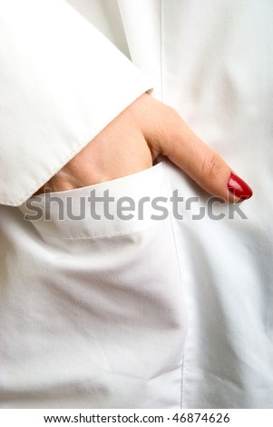 photo close-up hands, lying in the pocket of white coat - stock photo