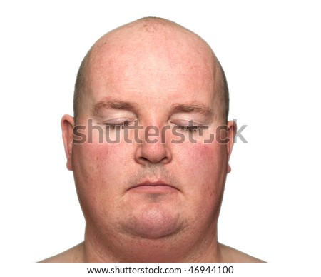 photo close-up of an overweight male, eyes closed - stock photo