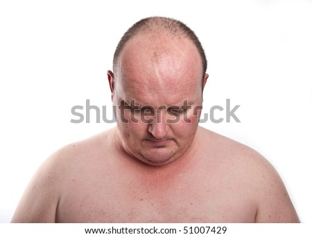 photo close up portrait capture of overweight male - stock photo