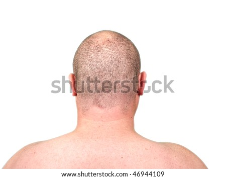 photo close-up rear head of an overweight male - stock photo