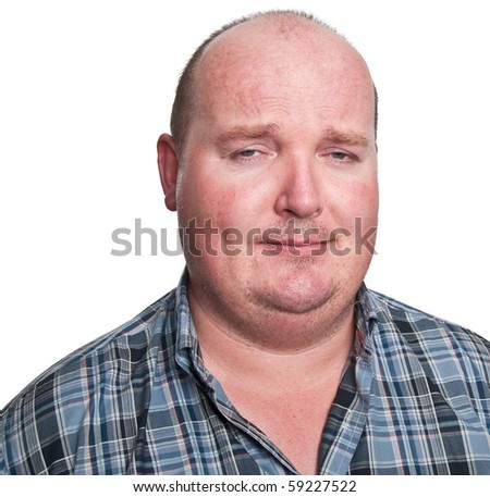 photo close up upset portrait overweight male - stock photo