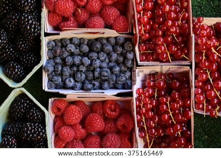 Photo closeup clean organic natural fresh tasty ripe blackberries blueberries raspberries red currants berries full of vitamin nutrition for sale in paper bags on green background, horizontal picture - stock photo