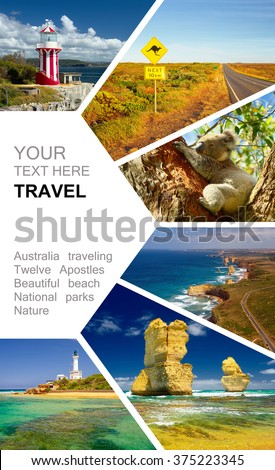 Photo collage Australia. Great Ocean Road and 12 Apostles. Travel concept - stock photo