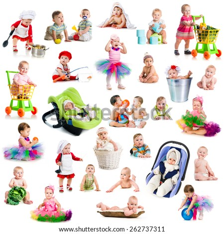 photo collage babies with toys on a white background