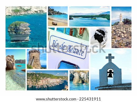 "Photo collage Corsica - the French ""Isle of Beauty"" in the� Mediterranean Sea  - stock photo"