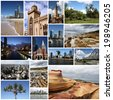 Photo collage from Australia. Collage includes major landmarks like Sydney, Melbourne, Brisbane, Perth and landscapes. - stock photo