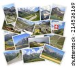 Photo collage from European Alps. Collage includes best landscapes of mountains in Austria, Switzerland and Italy. - stock photo