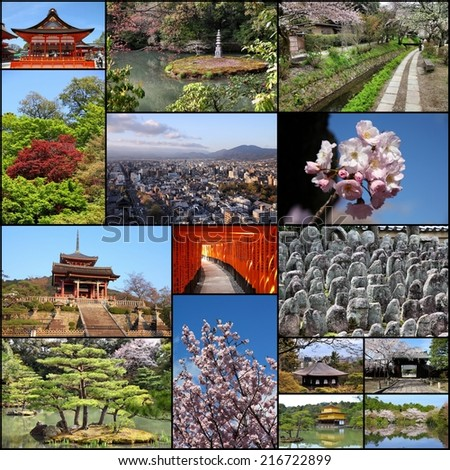 Photo collage from Kyoto. Collage includes best views like Fushimi Inari, Buddhist temples, cherry blossom and zen gardens. - stock photo