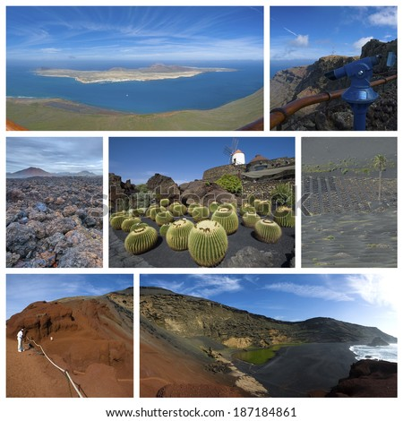 Photo collage from one of the Spanish Canary Islands on Atlantic Ocean - Lanzarote. Collage includes most famous places of the island. - stock photo