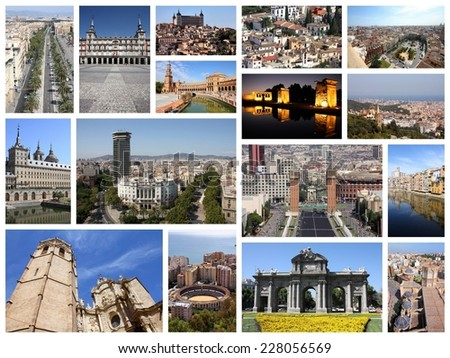 Photo collage from Spain. Collage includes major landmarks like Barcelona, Madrid, Valencia, Malaga, Toledo and Girona. - stock photo