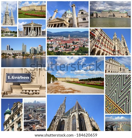 Photo collage from Vienna, Austria. Collage includes major landmarks like the cathedral, City Hall, museums and palaces. - stock photo