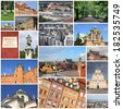 Photo collage from Warsaw, Poland. Collage includes major landmarks like the main square, Wilanow and Castle Square. - stock photo