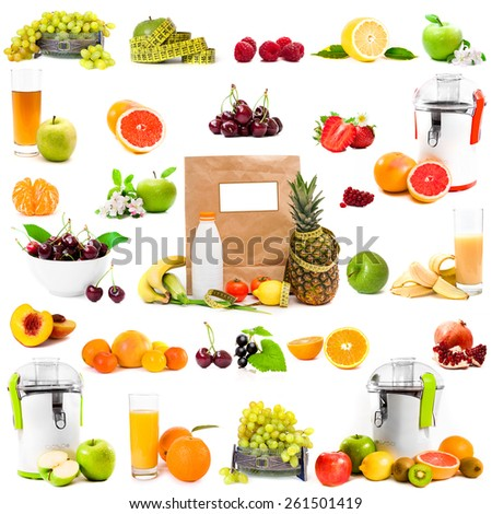 photo collage fruits and juices on a white background - stock photo