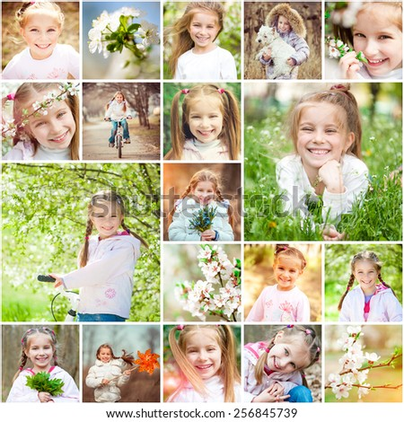 Photo collage of a cheerful girl rejoices spring, warmth and flowers - stock photo