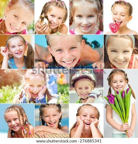 photo collage of a cute little girl in a good mood - stock photo