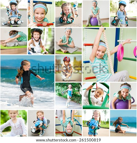 Photo collage of a little girl playing sports in the gym and on the street - stock photo