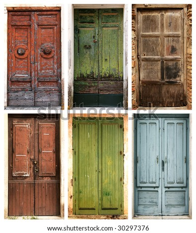 Photo collage of 6 beautiful ancient doors - stock photo