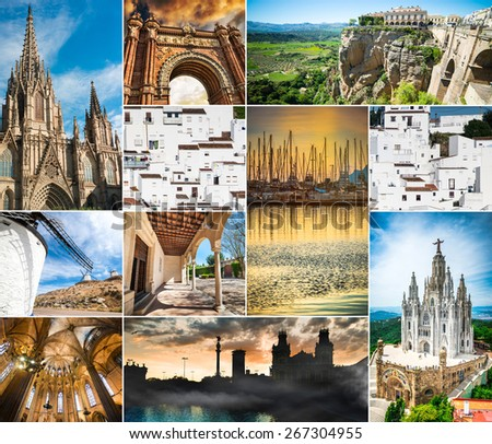 photo collage of beautiful views of Spain - stock photo