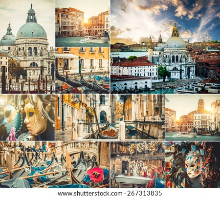 photo collage of beautiful views of Venice - stock photo