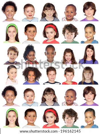 Photo collage of children isolated on white background - stock photo