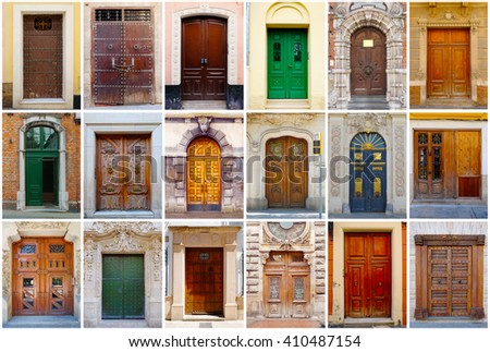 Photo collage of 18 colorful front doors to European houses and homes. Collage of the & Photo Collage 18 Colorful Front Doors Stock Photo 410487154 ...