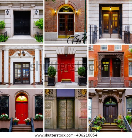 Photo collage of colorful front doors to Manhattan houses and homes. Collage of the New & Photo Collage Colorful Front Doors Manhattan Stock Photo (Royalty ...