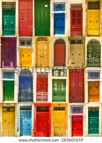 photo collage of colourful front doors to houses - stock photo