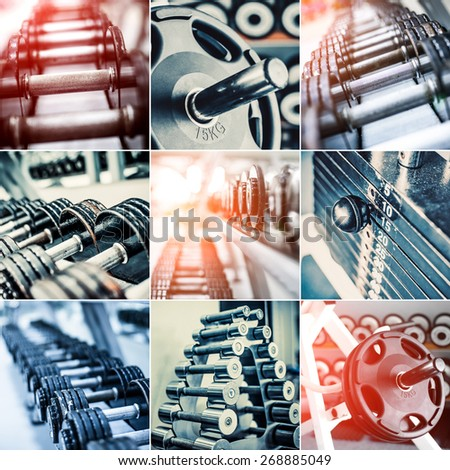 photo collage of different dumbbells - stock photo