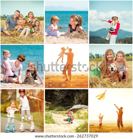 photo collage of family on vacation - stock photo