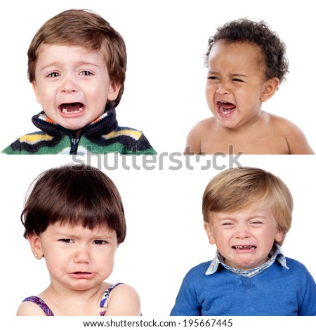 Photo collage of four children crying isolated on white background - stock photo