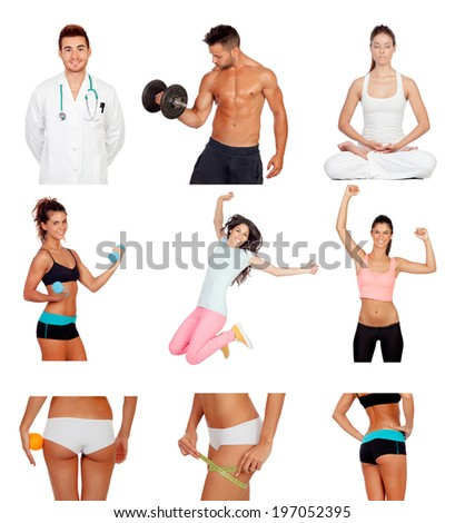 Photo collage of healthy people practicing fitness isolated on white background - stock photo