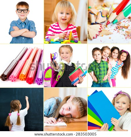 Photo collage of small children with their school supplies and toys - stock photo