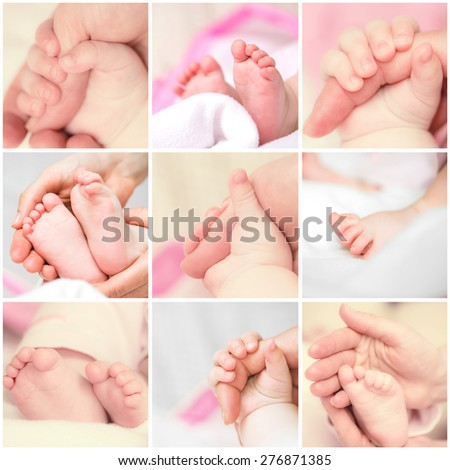 Photo collage of small hands and feet in hand parent baby - stock photo