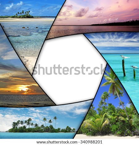 photo collage of tropical seas with blank space - stock photo