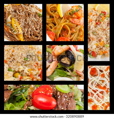 Photo Collage of various types of food