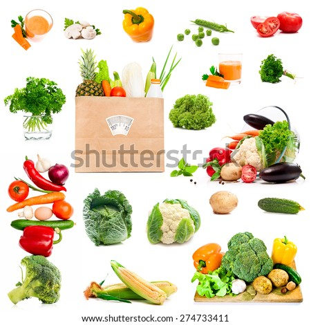 photo collage of vegetables and spices on a white background - stock photo