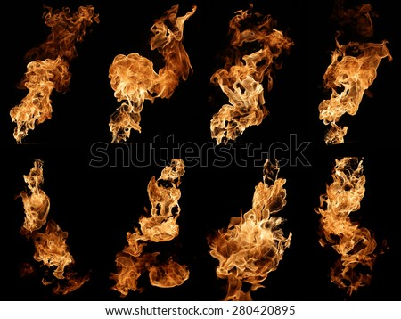 Photo collection of fire isolated on black. - stock photo