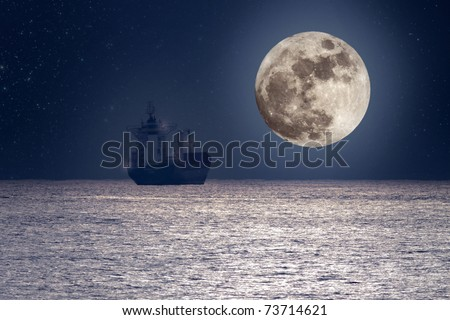 Photo composition of a commercial ship cruising ocean on a calm full moon night (added some digital grain) - stock photo