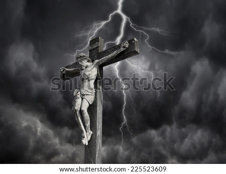 Photo-composition of Jesus Christ dying on the cross. - stock photo