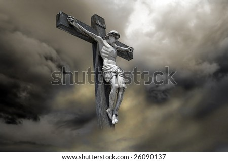 Photo-composition of Jesus Christ dying on the cross - stock photo