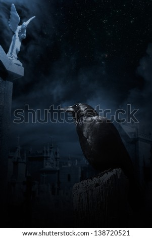 Photo composition with crow, cemetery at night with one of his white marble angels enhanced, clouds and stars - stock photo