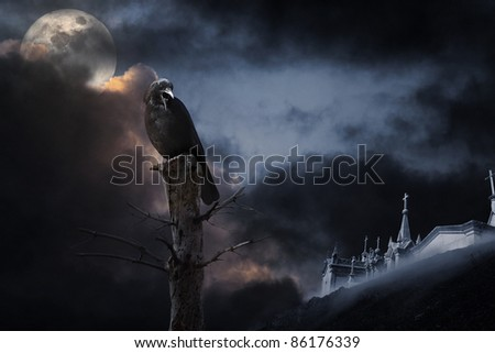 Photo composition with full moon, part of a naked tree, cemetery, clouds and crow that can be used for halloween - added some digital grain - stock photo