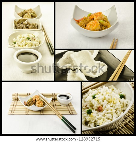 Photo composition with some chinese plate - stock photo