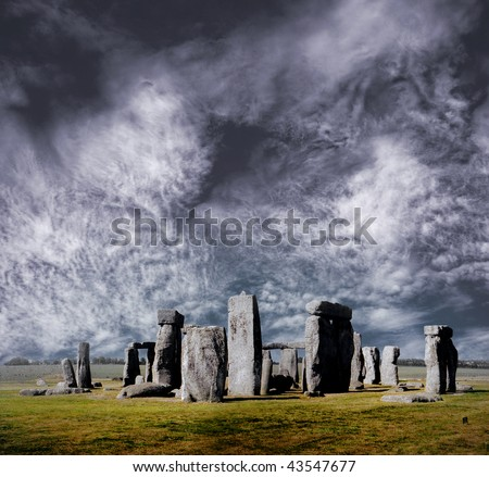 Photo-composition with the most famous pre-historic monument all over the world. - stock photo