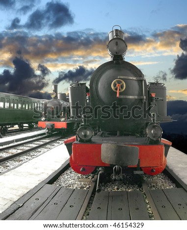 Photo-composition with vintage steam trains.