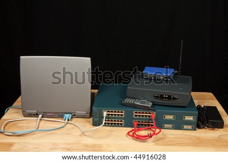 photo concept of configuring data and voice network wireless - stock photo