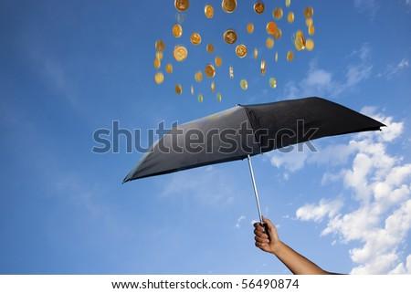 photo concept of wealth and raining money - stock photo